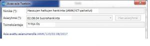 Näkymä lomakkeesta, jolla avataan asia Twebiin.