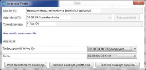 Näkymä lomakkeesta, jolla voi lähettää sähköpostiviestin ja/tai liitteen asiakirjana Twebiin.