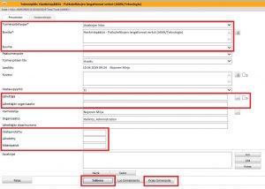 Näkymä toimenpide-sivusta, jossa korostettuna ne kentät, joita suositellaan muokattavan tai täydennettävän.