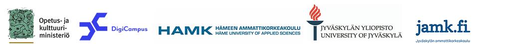 Digikampus-hankkeen sekä toteuttajien ja rahoittajan logot.