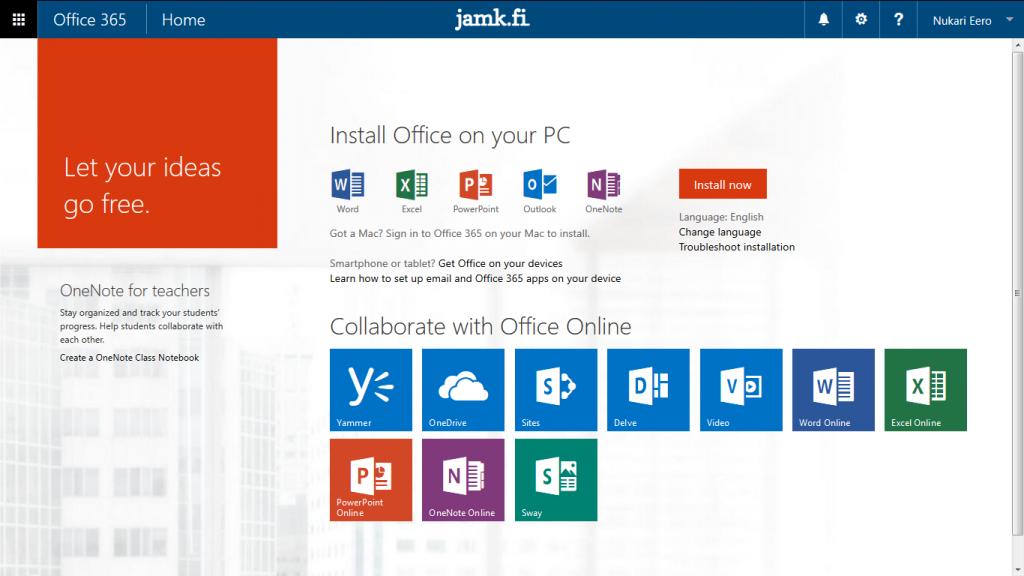 Office 365 etusivu. Pääset eri sovelluksiin vasemman yläkulman ruudukosta.