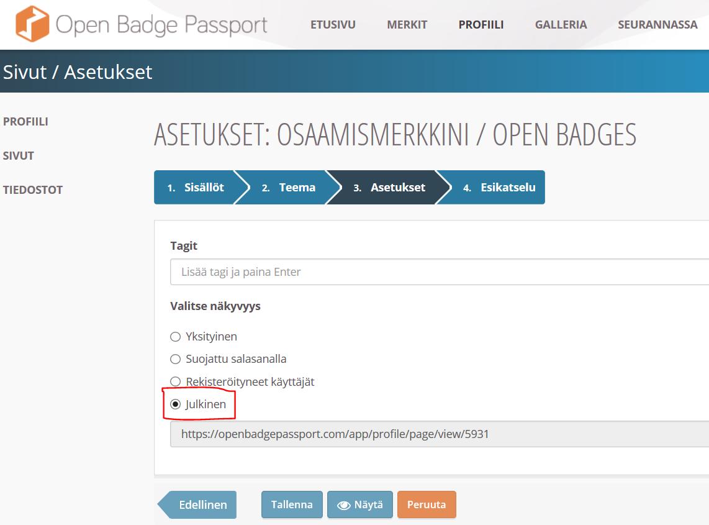 Open Badge Passport sivu