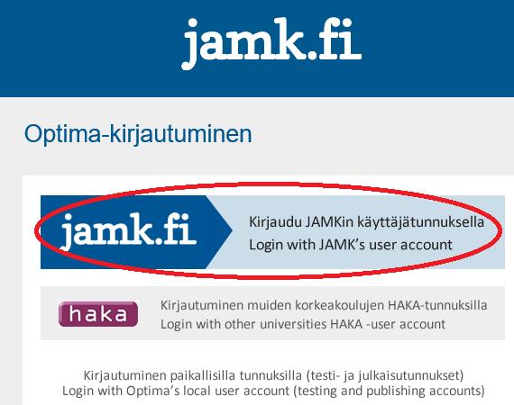 """Optiman kirjautumisikkuna, josta valitaan """"Kirjaudu JAMKin käyttäjätunnuksella""""."""