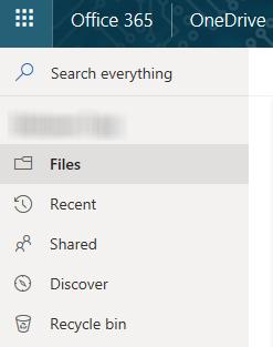 OneDriven navigaatio: Etsi/Search, Tiedostot/Files, Edelliset/Recent, Jaetut/Shared, Löydä/Discover.