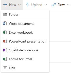OneDriven Uusi/New -valikon kautta voit luoda uuden kansion/Folder, Word, Excel, PowerPoint, OneNote tai Forms -tiedoston. Voit lisätä myös linkin.