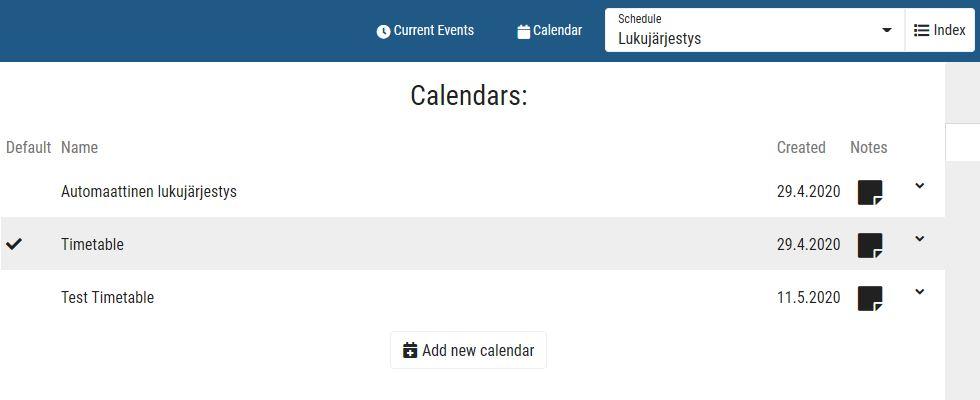 Add new calendar button
