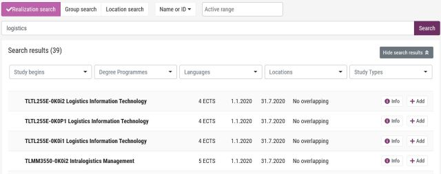 Search result list