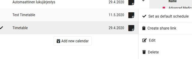Set as default schedule