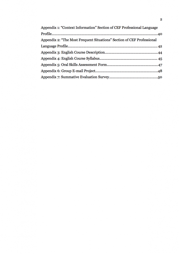 Figure 2. Sample development project report table of contents (see Stevens 2007, 1, adapted with permission)
