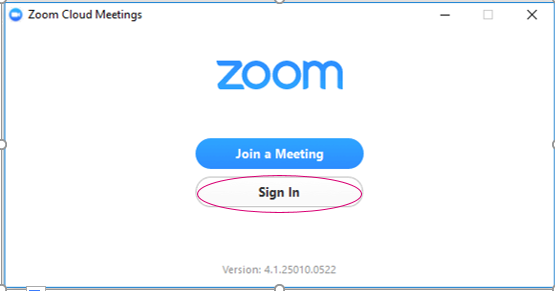 Zoom sign in