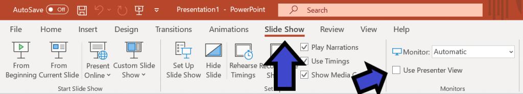Paina Powerpointissa Slideshow -> Poista Presenter View